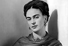 Frida Kahlo black and white headshot